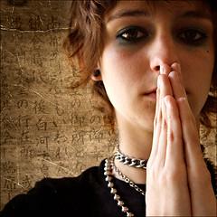 Her Beauty Is Hidden (Laura Galley) Tags: portrait woman art texture girl dark darkness prayer squareformat spiritual oe ourtime c