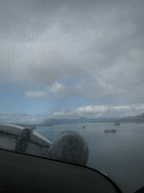 raindrops on a float plane windshield, Tongass Narrows, Alaska