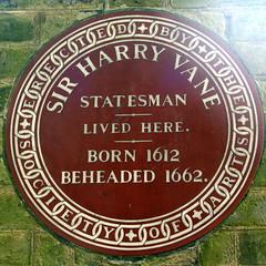 Photo of Harry Vane brown plaque