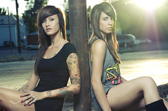 Lauren & Bre - Explore (jordanvoth.com) Tags: california girls black lauren beautiful shirt lights nikon pretty dress models bre redding 2010 d300 strobes alienbees 18135mm b800 exploreexploredmay21