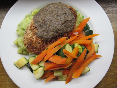 Butterbean & Brazil nut fillet with roast galric mash, mushroom gravy and vegetables