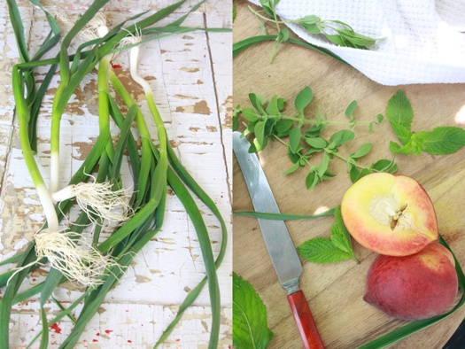 Garlic Scapes and Peaches