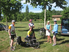 The cyclists before the canoe trip