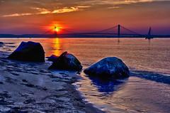 169/365 - June 18, 2011 - Three Rocks at Sunset (Shane Woodall) Tags: ocean bridge sunset newyork beach water june brooklyn 35mm coneyisland 365 hdr 2011 project365 verrazannobridge hdrefexpro 3652011 fujix100 shanewoodallphotography