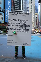 Human Painting in Times Square (Beaubs) Tags: newyork art crochet timessquare gothamist yokoono olek