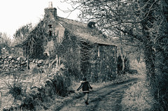 House and Boy (Dan Baillie) Tags: trees winter boy sepia barn scotland nikon searchthebest path cottage ruin portfolio galloway dumfriesandgalloway puddock wigtownshire danbaillie yourcountry kirkcowan bailliephotographycouk bailliephotography wigtownshirephotographer dumfriesandgallowayphotography