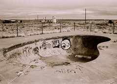 Two Guns, Arizona (alison✿) Tags: street trees camp two arizona urban bw streetart art abandoned film pool 35mm skull graffiti town highway minolta decay ghost mining guns ghosts kamp