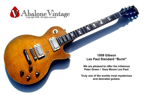 1959 Gibson Les Paul Standard guitar owned by Peter Green of Fleetwood Mac and Gary Moore of Thin Lizzy!!! The Peter Green Les Paul Greenie Greeny Famous Guitars Music vintage guitar broker