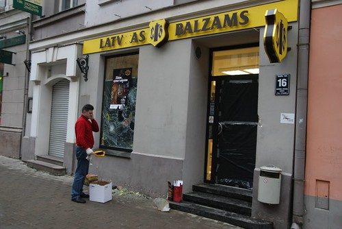 Alcohol store looted in Riga