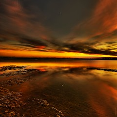 Matanzas Sundown-Venus Setting (JamesWatkins) Tags: ocean sunset usa seascape art digital stars evening poetry surf venus unitedstates sundown florida abs