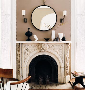 Modern neutrals: Round mirror + black + white + decorative mantle by xJavierx.