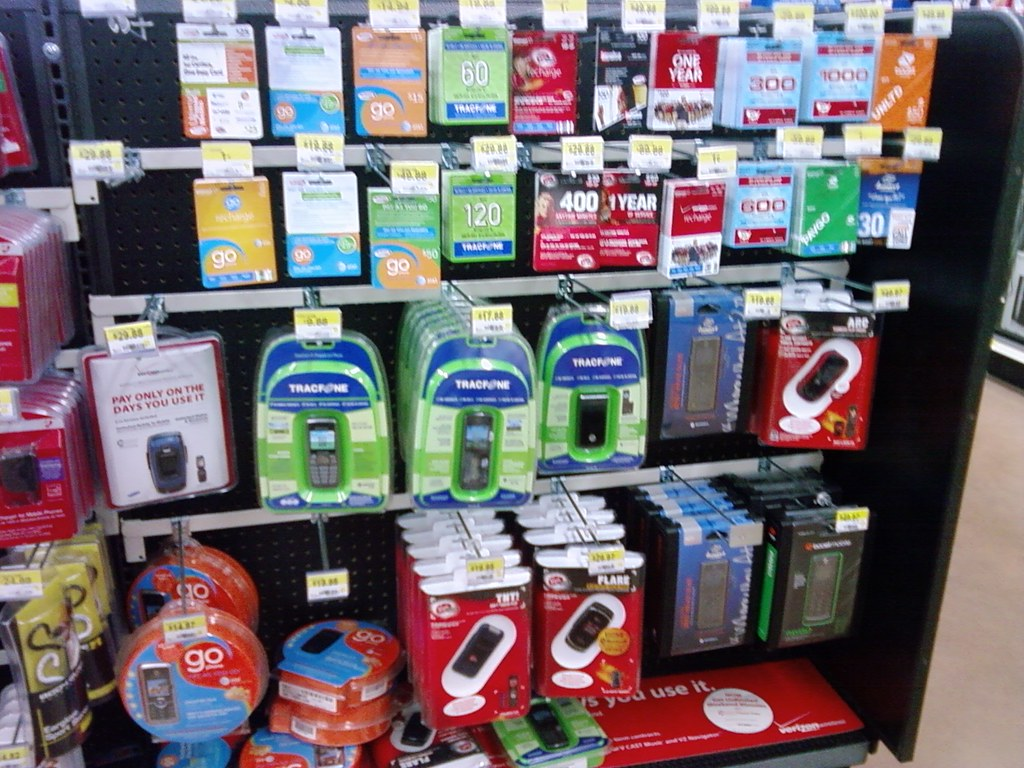 Wal-Mart Atlantic, Iowa closeup on prepaid phones.