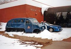 SK Regina RCMP 1997-0203 Depot Division Vehicles (CanadaGood) Tags: blue red white snow canada color colour building museum analog police slidefilm 1997 rcmp sk regina saskatchewan nineties snowmobile printfilm seattlefilmworks canadagood sfwdigital