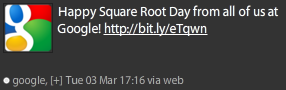 Google Tweets About Square Root Day