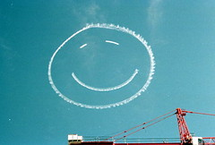 Smiley face written in the sky during the inau...