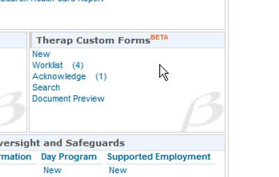 Screenshot showing 'Therap Custom Forms'section on Firstpage