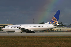 Continental Airlines Boeing 737-824 N37263 (Flightline Aviation Media) Tags: airplane airport rainbow miami aircraft aviation jet continental canon10d mia boeing airlines 737 stockphoto 737800 kmia 737824 n37263 bruceleibowitz