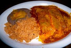 Cheese Enchiladas at Dora's Mexican restaurant (Scorpions and Centaurs) Tags: trip vacation food holiday cheese dinner lunch restaurant colorado rice plate denver refriedbeans mexican aurora meal dining local melted enchiladas doras redchile enchiladasauce