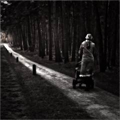 Paradise (PHLB - Luc B) Tags: bw woman forest walking square woods paradise child clairobscure mymuse mysurrealworld setnieuw phlb