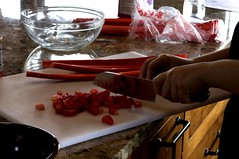 slicing rhubarb