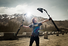 Xinjiang Self-Portrait (Jeremy Snell) Tags: china roof portrait snow mountains beauty self dish jeremy xinjiang snell strobist jeremysnell