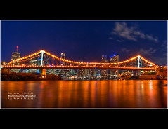 Story Bridge :: Night HDR-3 ([ Rodelicious ]) Tags: trip travel blue light sea vacation sky color colour reflection art beach nature beautiful beauty clouds contrast photoshop canon landscape geotagged photography photo interestingness exposure cityscape dof photos australia brisbane explore queensland pk canoneos hdr highdynamicrange hdri blending waterscape rodel sigma1020mm photomatix explored tonemap canon400d canonxti colorphotoaward aplusphoto pinoykodakero colourartaward perfectescapes rodelicious vosplusbellesphotos ifolio garbongbisaya rodeljoselitomanabat
