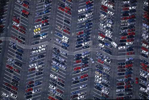 alex maclean: parking lot aerial shot
