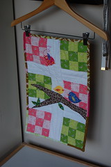 DQS6, Front (Tiny House) Tags: pink green bird quilt denyseschmidt dollquilt fleamarketfancy joeldewberry aviaryfleamarketfancy