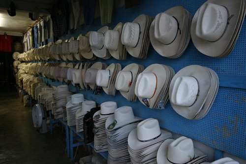 Cowboy hats on sale in Aldama, Mexico.
