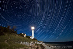 South Manitou Island Light is relit after 50 years in dormancy. (Ken Scott) Tags: usa lighthouse island michigan lakemichigan greatlakes manitou startrails southmanitouisland leelanau startrail southmanitouislandlight nearthe45thparallel