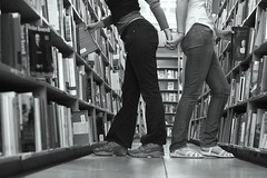 Day 141: Aisle 709. (SaylaMarz) Tags: blackandwhite me lesbian kristina bookshelf powells 365days