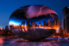 Sphere (kern.justin) Tags: park cloud chicago reflection twilight nikon gate downtown millenium bean cloudgate hdr chicagoist d700 kernjustin wwwthewindypixelcom