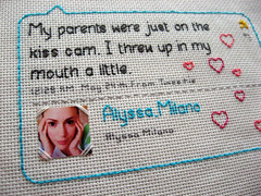 tweet 2 @Alyssa_Milano (thewilltorock) Tags: crossstitch needlework craft charmed tweet alyssamilano whostheboss twitter youheartus youheartdotus tweetstitch