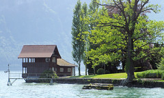 Lucern Dock (cwgoodroe) Tags: sun mountain lake snow alps green church statue ferry fairytale swimming switzerland boat europe locals suisse swiss sunny location farms movieset luce swissalps lucern medivil beerpasture