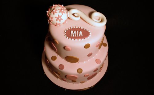 Polka Dots & Baby Rattle Baby Shower Cake
