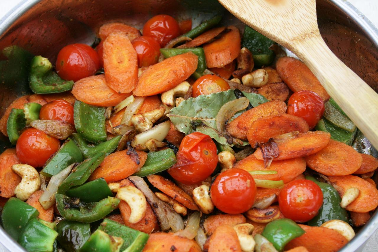 grønsager med cashewnødder