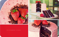 The Strawberry Clogger (isayx3) Tags: pink light cake 35mm dark four nikon diptych dof natural bokeh chocolate layers f2 d3 buttercream layered straberry tripytch plainjoe ganach isayx3