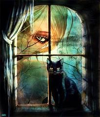 la petite maison du chat noir ( Lilli  OFF) Tags: light black tree texture window cat photoshop eyes chat noir darkness heart avatar secondlife lilli avie rang colorsofthesoul altrafotografia graphicmaster musicsbest secretenchantedgardens lillirang absolutelyperrrfect magicunicornverybest trolledproud