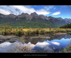 The Mirror Lake, Eglinton Valley, Fiordland National Park, New Zealand  HDR (:: Artie | Photography ::) Tags: new christchurch mountain lake reflection nature photoshop canon landscape mirror landscapes cs2 mirrorlake wideangle symmetry zealand handheld southisland milford 1020mm milfordsound hdr artie fiordland fiordlandnationalpark 3xp eglintonvalley sigmalens photomatix tonemapping tonemap 400d rebelxti