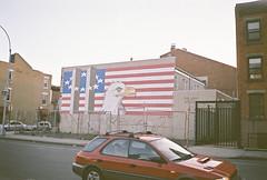 (dream states) Tags: brooklyn 35mm mural eagle americanflag twintowers fujicolorsuperiaxtra400 samsungmaxima25