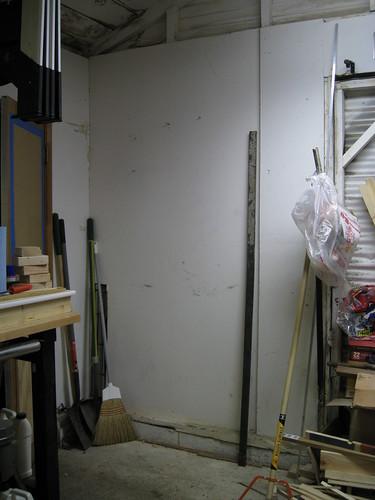empty corner where wood was in my garage