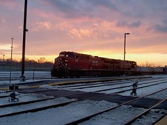 Eastbound Canadian Pacific intermodal train in a winter sunset environment. Chicago Illinois. December 2006.