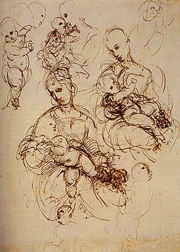 1507  Raphael    Studies of The Virgin and Child  Pen and brown Ink  25,3x18,3 cm  Londres, British Museum