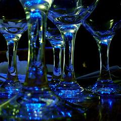Blueglass (M. G.. W...) Tags: christmas blue cambridge reflection glass lumix lights glasses wine panasonic refraction dmcfs3