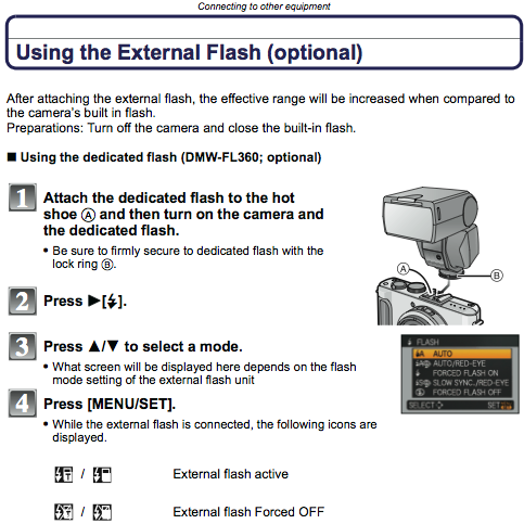 Using an external flash on the LX3, as described on page 173 of the manual