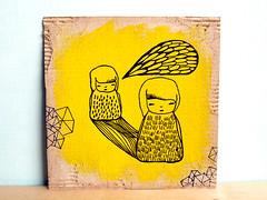 Do You Hear Me - Original Drawing Painting (Ula~) Tags: art pencil ink painting paper drawing originalart surreal pop dessin cardboard etsy acrylicpaint originaldrawingpainting