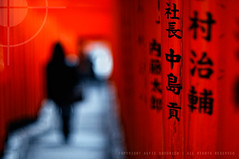 The Gates to Bokeh Heaven; Hie Shrine, Akasaka, Tokyo (Alfie | Japanorama) Tags: red people japan walking asian japanese tokyo focus shrine asia heaven bokeh gates steps silhouettes class kanji characters teaching manual lesson torii akasaka descending d300 hie bloack nikkor50mmf12ai