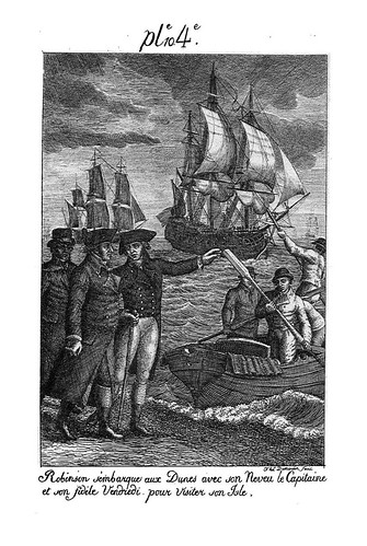 011- Robinson desembarca con su primo el capitan y Viernes para visitar de nuevo su isla
