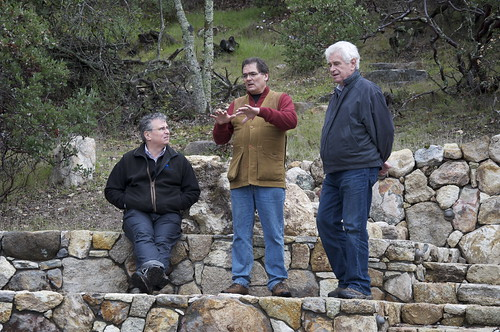 Here Andy (center) explains to Paul (left) and John about the amphitheater which is built with stones from the property.