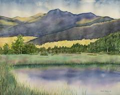 Serenity (painted path) Tags: trees mountain ny art nature grass watercolor painting landscape pond paint artist adirondacks watercolour saranacklake